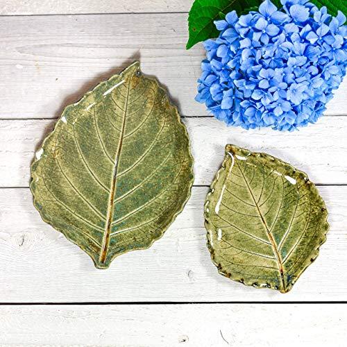 Pottery Leaf Dish - Spoon Rest Set - Tea Bag Rest - Ring Dish - Soap Dish - Handmade Pottery Leaf