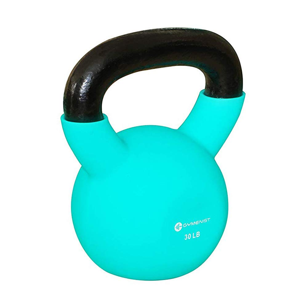 GYMENIST Kettlebell Fitness Iron Weights with Neoprene Coating Around The Bottom Half of The Metal Kettle Bell (30 LB)