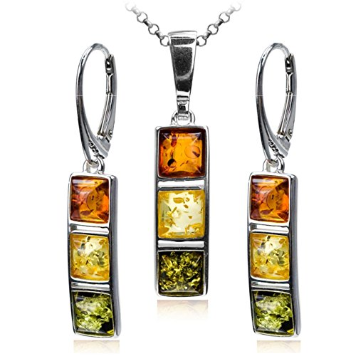 Sterling Silver Multicolor Amber Earrings Necklace Set 18 Inches Amber Jewelry Multi Color Necklace
