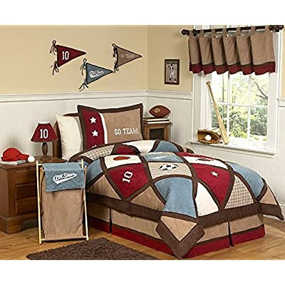 Sweet Jojo Designs All Star Sports Childrens 3 Piece Full/Queen Boys Bedding Set: Home & Kitchen