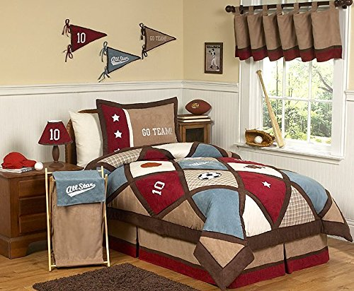 (Sweet Jojo Designs 3-Piece All Star Sports Children's Full/Queen Boys Bedding Set)