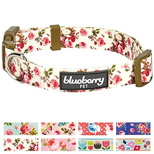 Blueberry Pet New 8 Patterns Spring Scent Inspired Pink Rose Print Ivory Dog Collar, Small, Neck 12