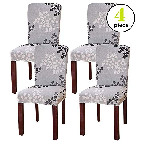 Leanking Knit Spandex Fabric Stretch Removable Washable Dining Room Chair Slipcover Home Decor Set of 4 (Grey Leaf, 4 Pcs)
