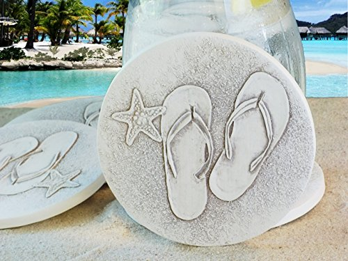 Drink Coasters by McCarter Coasters, Flip Flop, Absorbent, Light Beige 4.25 inch (4pc)