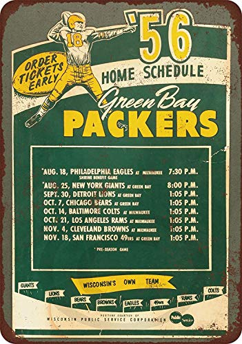 Jesiceny New Tin Sign 1956 Green Bay Packers Home Schedule Aluminum Metal Sign 8x12 Inches