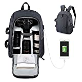 Usbagtech Camera Laptop Backpack Professional Waterproof Shockproof DSLR SLR Cameras Travel bag with Rain Cover,Tripod Strap & USB Port for Sony Canon Nikon Olympus, Lens and Accessories, Grey