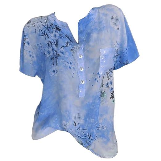 4fc4f98f9c1720 Goddessvan Women Plus Size T-Shirt Short Sleeve Loose Floral Print V-Neck  Blouse