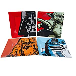 Star Wars Plate Set - Dishwasher Safe - Features Yoda, Darth Vader, R2D2 and Chewbacca