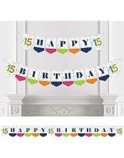 Big Dot of Happiness 15th Birthday - Cheerful Happy Birthday - Colorful Fifteenth Birthday Party Bunting Banner - Birthday Party Decorations - Happy Birthday