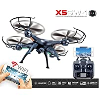 Kobwa FPV HD Camera Drone with Real Time Transmission, Headless Mode, One Key Return, 2.4G WIFI RC Quadcopter - Black