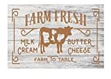 "Farm Fresh Milk Cream Butter Cheese w/ Cow Antique Rustic Shabby Chic Metal Kitchen Decor Sign - 12"" x 8"""