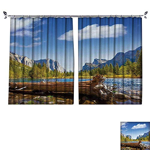 DESPKON Non-humidifying and Breathable Style Yosemite Merced River Capitan and Half Dome in California Natial Park Wate for Elegant Floor-Down Window Decoration W72 x ()