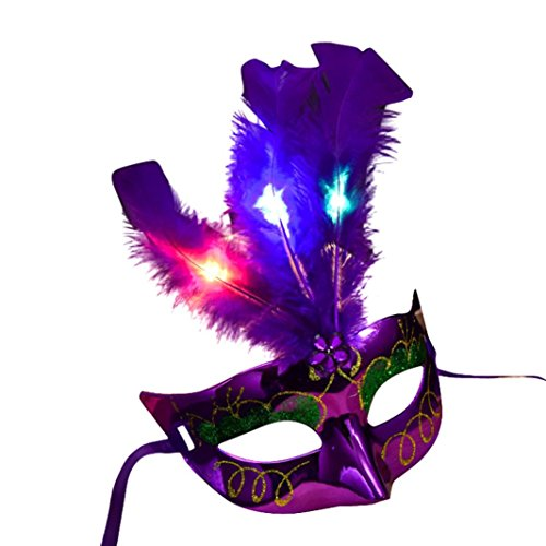 Purple Costume Feather Mask - Inverlee Deluxe Feather Mask Assortment Women Venetian LED Fiber Mask Masquerade Fancy Dress Party Princess Feather Masks For Prom Party (Purple)
