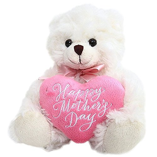 Plushland Cream Bear, Holding a Heart in Pink Printed Happy Mother's Day Message (Cream)