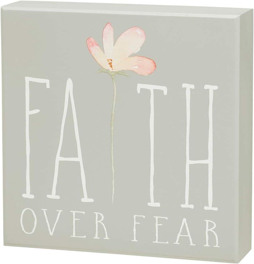 'Faith Over Fear' Floral Wood Box Sign