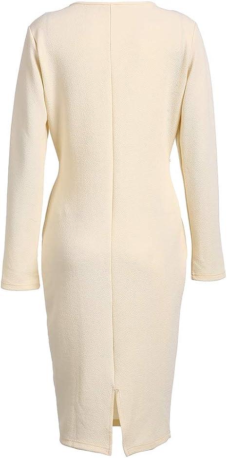 CiKiXZ Damen Etuikleid Elegant Business Kleider mit G/ürtel Bodycon Cocktailkleid Bleistiftkleid Gesch/äft Figurbetonte Mini Kleider