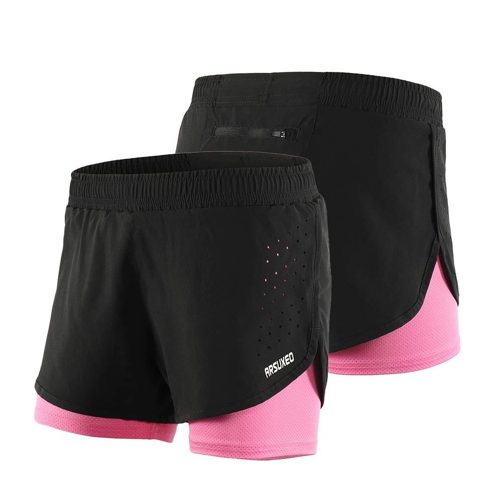 Lixada 2-in-1-Laufhose f/ür Damen Schnell trocknend Atmungsaktiv Aktiv-Training Jogging-Radsport-Shorts mit l/ängerem Innenschuh