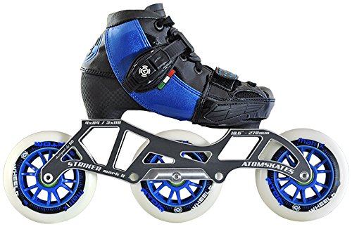 Luigino Kids Adjustable Blue Boot Size 2-5, Luigino Striker 4x90/3x110 Frame, Atom Matrix Blue 100mm Wheels, Bionic Abec 7 Bearings, Inline Speed Skates by Luigino