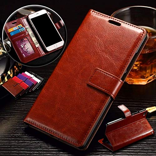 shoppingmal Luxury Leather Wallet Flip Cover Case (Brown,Samsung Galaxy Note 9)