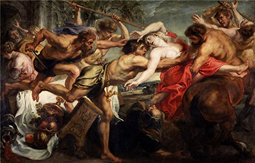 ['Rubens Peter Paul The Rape Of Hippodame Or Lapiths And Centaurs 1636 38 ' Oil Painting, 8 X 13 Inch / 20 X 32 Cm ,printed On Perfect Effect Canvas ,this Beautiful Art Decorative Prints On Canvas Is Perfectly Suitalbe For Bathroom Decor And Home Gallery Art And] (Mounted Animal Head Costume)