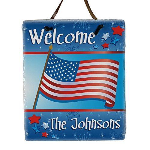 (GiftsForYouNow Personalized Slate Plaque - American Pride Design, 11 H x 9 W, Natural Slate Look)