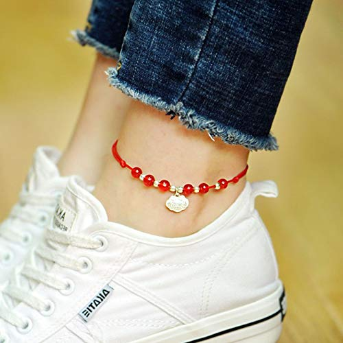 Palace ii Bells Agate Student Manual National Wind Crystal Jewelry Simple Birthday Present Women Girls red Mens Foot Chain Anklet Ankle Bracelet