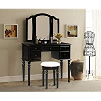 Merax Vanity Set w/ Stool Make-up Dressing Table Bedroom Dressing Table (black)