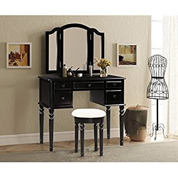 Amazon Com Tribesigns French Vintage Ivory White Vanity Dressing Table Set Makeup Desk With