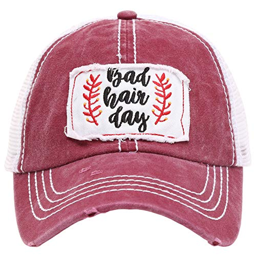 MIRMARU Women's Baseball Caps Distressed Vintage Patch Washed Cotton Low Profile Embroidered Mesh Snapback Trucker Hat (BadHairDay, ()