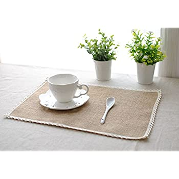 Amazon Com Burlap Lace Placemats Nature Jute Woven Table