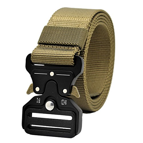 GRULLIN Tactical MOLLE Nylon Belt,Military Style Riggers Web Waist Belt with Heavy Duty Quick Release Metal Buckle for Men ()