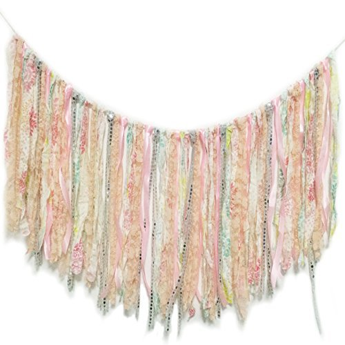 E-muse Vintage Handmade Lace Fabric Tassel Garland Banner Bling Baby Pink for Wedding Birthday Hen Parties
