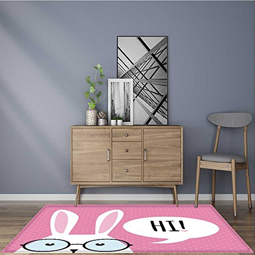 (modern rugs Greeting card with with white Easter rabbit Resistant Contemporary Soft Plush Quality 5' X 8')