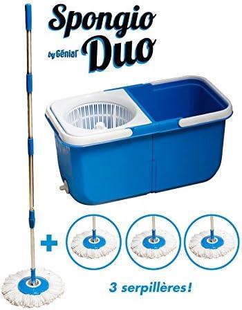 Bodenwischer 360 ° 4 Reinigungstücher – 2 separaten Becken – Turbo Mop spongio