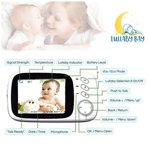 Lullaby Bay Video Baby Monitor with Camera. Anti-Hack Encryption. Wireless Digital 3.2 inch LCD Screen. Night Vision… Amazon choices camera