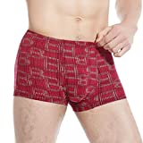Tangda Men Fashion Boxer Briefs Seamless Printed Shorts Underwear Red Trunks