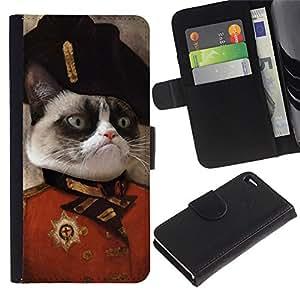 KingStore / Leather Etui en cuir / Apple Iphone 4 / 4S / Gato enojado Cara siamés Rosa Arte de la nariz general