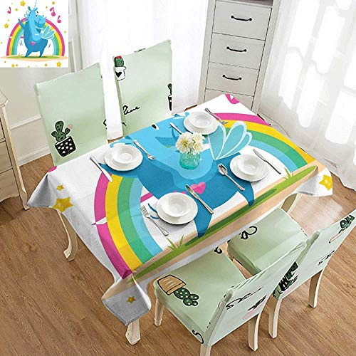 - DILITECK Elegance Engineered Tablecloth Unicorn Party Colorful Cartoon Horse with Horn Dancing in Front of The Rainbow Funny Animal Indoor Outdoor Camping Picnic W52 xL72 Multicolor
