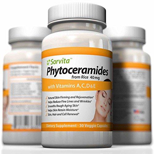 Phytoceramides - увлажняет кожу изнутри, чтобы уменьшить тонких линий и морщин ~ природные анти эффект старения ~ Пшеничная клейковина бесплатные Уход за кожей Оральный Дополнение - растительного происхождения керамиды из риса - Лучшие Vegan капсулы с вит