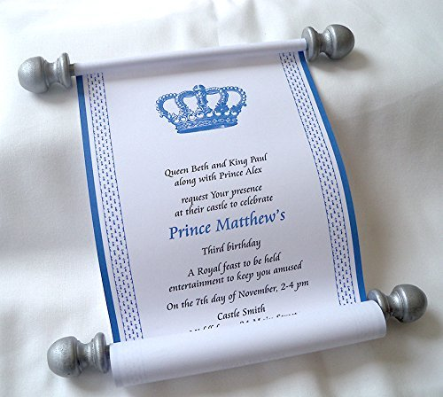 Amazon royal prince birthday invitation scrolls with crown royal prince birthday invitation scrolls with crown customized in blue and silver 5quot filmwisefo