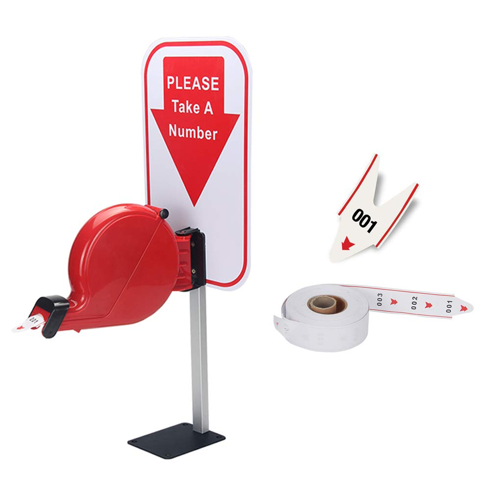 Take-A-Number System Ticket Dispenser with Counter Stand and 1 Roll Queue Tape Paper 3 Digits 2000 Tickets for Queue Call System by Ycall