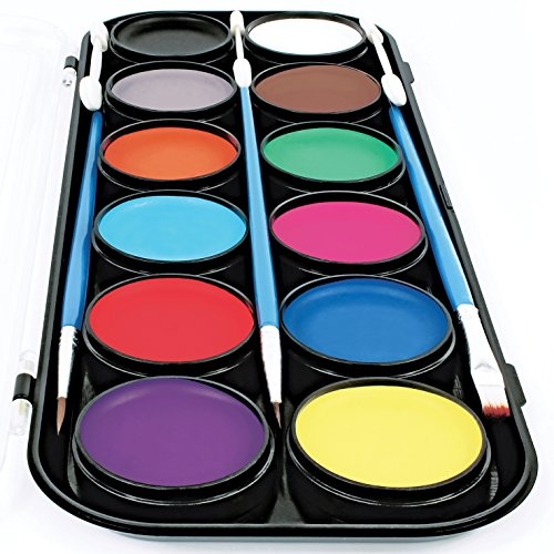 Artsy Fartsy Face Paint 12 Color Palette | 30 Stencils, 3 Brushes, 3 applicators, and Jumbo Size Sturdy Case | Professional Painting Kit for Kids | Water Based Set Non-Toxic -