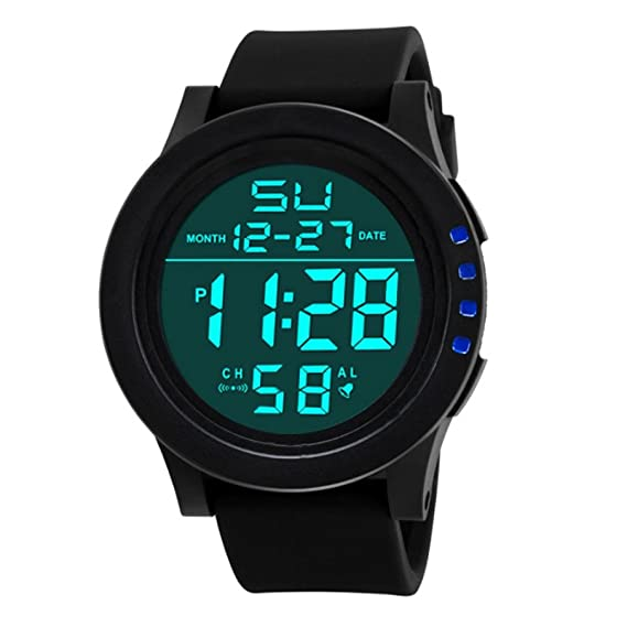 Tonsee Digital Deportivo para hombre reloj LED electrónico al aire libre impermeable luz de fondo Pantalla Cronómetro: Amazon.es: Relojes