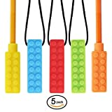 CHEW-E-Chainz Premium Pack Sensory Chew Necklace Set (5-Pack-Includes 2 Bonus Pencil Toppers)- Silicone Chewy for Autism, ADHD, Biting & Teething Boys and Girls, The New CHEW-Stronger & Lasts Longer