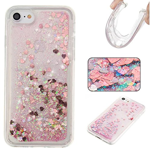 iPhone 8 Case,iPhone 7 Case,DAMONDY Moving Stars Bling Glitter Floating Dynamic Flowing Love Heart Ultra Clear Soft TPU Case for Apple iPhone 8 (2017) / iPhone 7 (2016)-pink