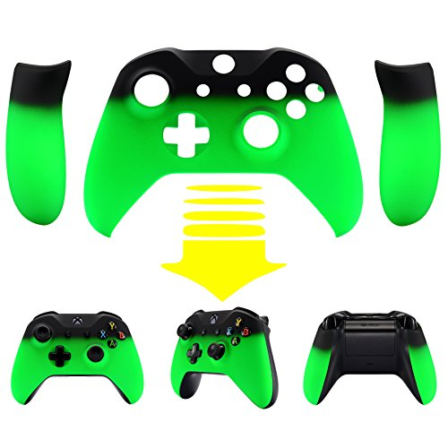 eXtremeRate Shadow Neon Green Soft Touch Top Shell Front Housing Faceplate Replacement Parts with Side Rails Panel for Microsoft Xbox One X & One S Controller