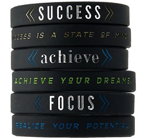 Success, Achieve, Focus - Motivational Silicone Wristbands with Inspirational Messages - Adult Unisex Size for Men Women Teens ()
