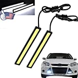 Super Bright Car Daytime Running Light - Waterproof High Power 6W Slim COB LED DRL Fog Driving Lamp for Ford/Silverado/Ram/Camry/Accord/Corolla/Altima/CR-V/Civic/Fusion by FOXSTAR (White light, 2Pc)