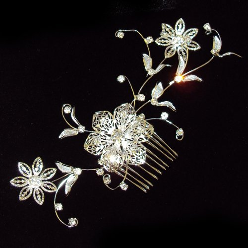Bridal Wedding Beautiful Elegant Crystal Handmade Filligree Pattern Flower and Leaves Hair Comb Filligree Pattern