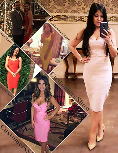 meilun Women's Strap Midi Bandage Dress Length Party Solid Prom Bodycon Dress